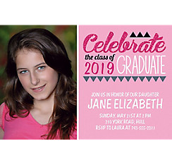 Custom Pink Pennant Banner Graduation Photo Invitation