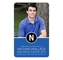 Custom Royal Blue Block Initial Graduation Photo Announcement