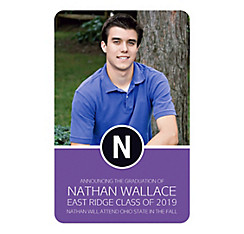Custom Purple Block Initial Graduation Photo Announcement