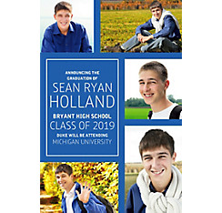 Custom Classic Royal Blue Collage Graduation Photo Announcement