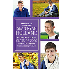 Custom Classic Purple Collage Graduation Photo Announcement