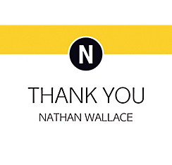 Custom Yellow Block Initial Graduation Thank You Note