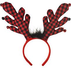 Buffalo Plaid Reindeer Antlers Headband