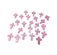 Glitter Pink Communion Cross Table Scatter 24ct