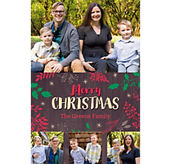 Custom Botanical Oak Christmas Collage Photo Card