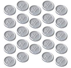 Silver Heart Wax Envelope Seals 24ct