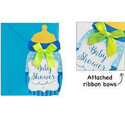 Premium Blue Bottle Baby Shower Invitations 8ct
