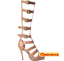 Tan Multi-Strap Knee High Sandals