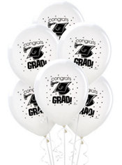 White Latex Graduation Balloons 12in 15ct