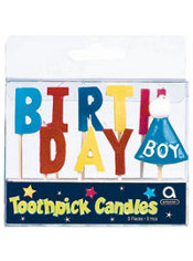 Happy Birthday Boy Toothpick Candles 9ct
