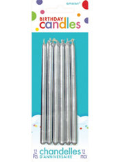 Tall Silver Birthday Candles 12ct