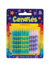 Pastel Stripe Birthday Candles 2in 24ct