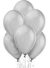 Silver Pearlized Latex Balloons 12in 10ct