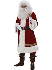 Adult Old Time Santa Suit with Hood Super Deluxe