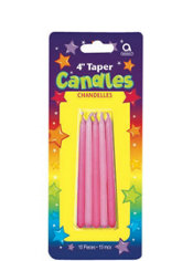 Pink Mini Taper Birthday Candles 4in 10ct