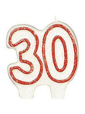 Number 30 Red Glitter Birthday Candle 3in