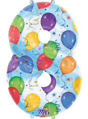 Number 8 Celebration Foil Balloon 34in