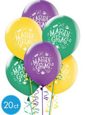 Mardi Gras Latex Balloons 12in 20ct
