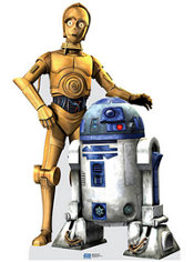C3PO and R2D2 Life Size Cardboard Cutout 70in