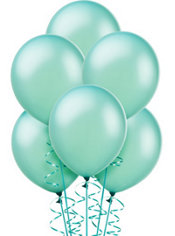Pearl Aqua Latex Balloons 12in 10ct