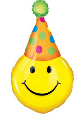 Foil Birthday Hat Smiley Face Balloon 39in