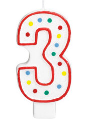 Number 3 Polka Dot Birthday Candle with Glitter 5in