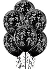 Latex Black And White Design Printed Balloons 12in 20ct