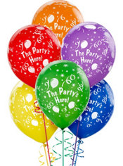Latex Party's Here Printed Balloons 12in 6ct