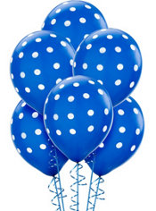 Latex Royal Blue Polka Dots Printed Balloons 12in 6ct