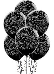 Latex Black Confetti Birthday Printed Balloons 12in 6ct