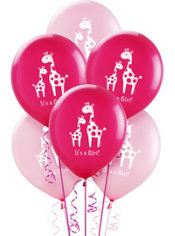 Latex Pink Safari Baby Shower Balloons 15ct
