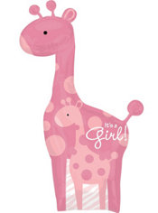 Foil Giant Pink Wild Safari Baby Shower Balloon 42in