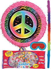 Pull String Neon Peace Sign Pinata Kit