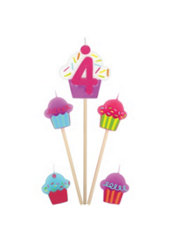 Number 4 Birthday Candle and Cupcakes 5ct