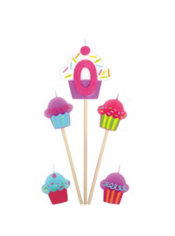 Number 0 & Cupcake Candle Picks 5ct