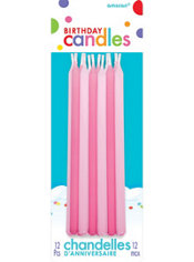 Tall Pink Birthday Candles 12ct
