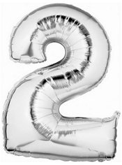 Number 2 Metallic Silver Foil Balloon 34in