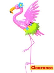 Winged Pink Flamingo Yard Stake