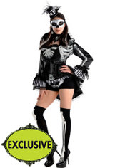 Adult Elegant Black & Bone Skeleton Costume