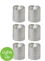 Glitter Silver Votive Flameless LED Candles 6ct