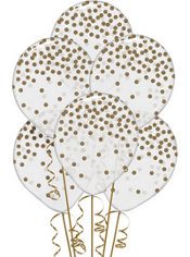 Transparent & Gold Dot Balloons 6ct