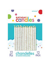 White Glitter Birthday Candles 2in 12ct