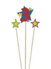 Number 3 Birthday Candle and Stars 3ct