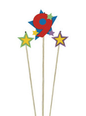Number 9 Birthday Candle and Stars 3ct