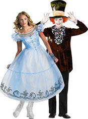 Deluxe Alice and Prestige Mad Hatter Alice in Wonderland Couples Costumes