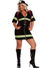 Adult Ms. Blazin' Hot Firefighter Costume Plus Size