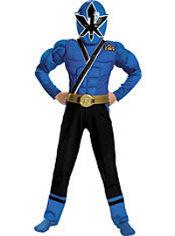 Boys Blue Ranger Muscle Costume - Power Rangers Samurai