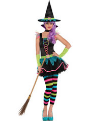 Teen Girls Neon Witch Costume