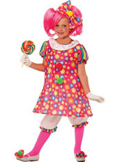 Girls Little Tickles Clown Costume