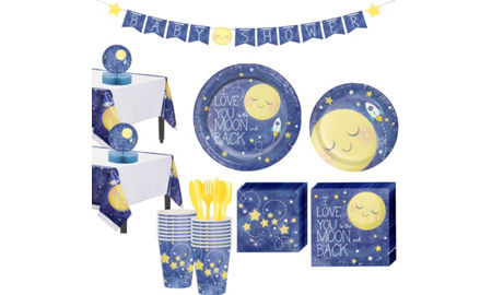 Moon stars baby shower party supplies party city for Baby full moon party decoration